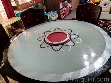 Round Dining Table With Center Rotator Glass For Sale