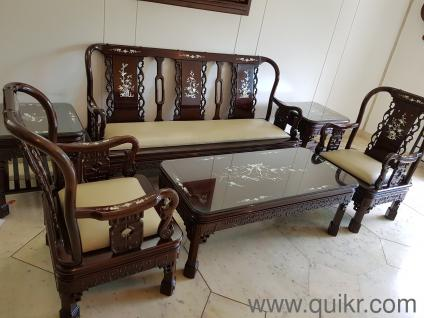 GOLD AD 6 Piece CARVED Living Room Set Original Solid Rosewood Engraved Inlaid With Mother