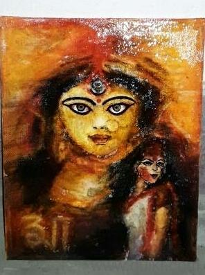 Maa Durga Acrylic Canvas Painting Almost Paintings