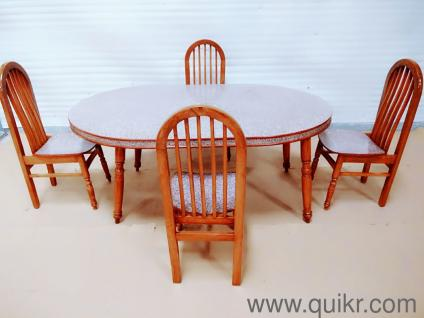 Sagwan Wood Dining Table With 4 Chairs For Sale