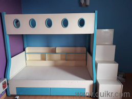 Bumper Offer Amazing Blue And White Bunk Bed With Large Adjoining