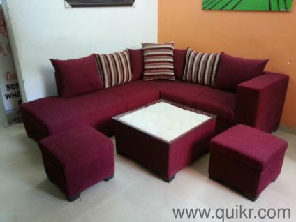 Premium Diwali Offer 1 Month L Shape Sofa Seat 2 Puffies And Center Table Price 19500