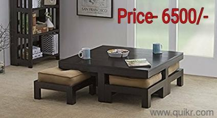 PREMIUM Diwali Offer Only 1 Month Coffee Table Wooden With 4 Stool Like 4  Seater Sofa Table