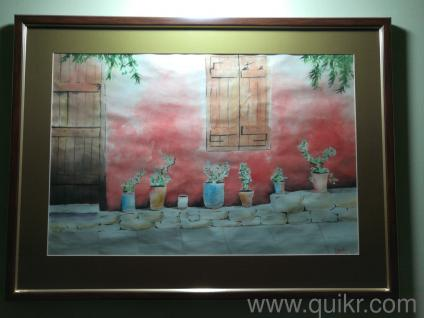 Beautiful hand made water color paintings, glass framed in 2 sizes,  26 5x19 5 inches and 21 x 16 inches