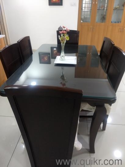 Rose Wood Glass Table With Cushioned Seats Dining Tables 6
