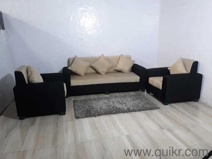 Brand New 3 1 1 Cream And Black Fabric Sofa Set For Sale Sofa
