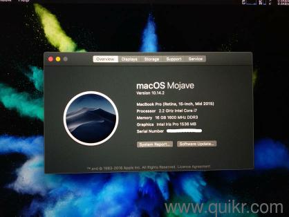 Macbook Pro 2015 with 3 month Apple Protection Plan running MacOS Mojave,  15 inch, i7, 16GB RAM, 250GB SSD, Intel Iris Pro graphics