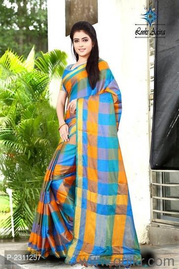 6c452f04ff283 Multicolored Checked Art Silk Sarees with Blouse piece  GR - Brand ...