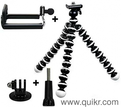 USED Taslar Flexible Octopus Foldable Mini Tripod For Mobile Phone With  Universal Mobile Monopod Mount Adapter,(White & Black)
