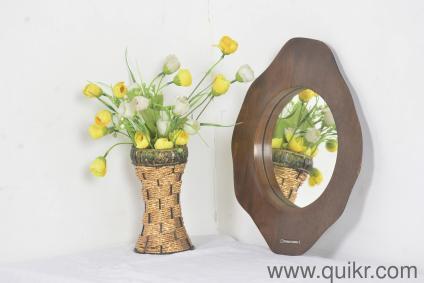Tess Mango Wood Round Wall Mirror by Urban Ladder