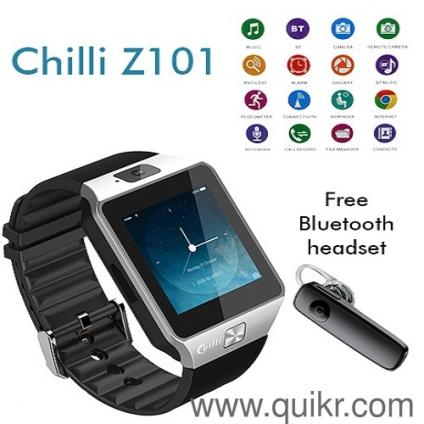 Chilli Z101 Smart Watch Sim Calling +( Bluetooth + One Extra Battery Free )  SilveR Black  Brand new Box Packed & 1 Year Company Warranty