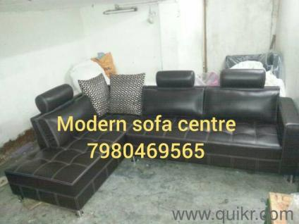 PREMIUM Black Leather Tufted Sectional Sofa