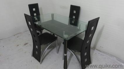 Quikr Certified 6 12 Months Old Gently Used 4 Seater Glass Top Dining Table For