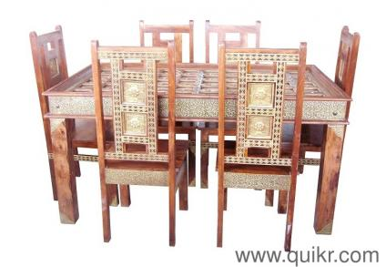 4 Sheesham Brass Fitted Dining Set 6 Seater Table With Chair Glass Top For Sale Wood