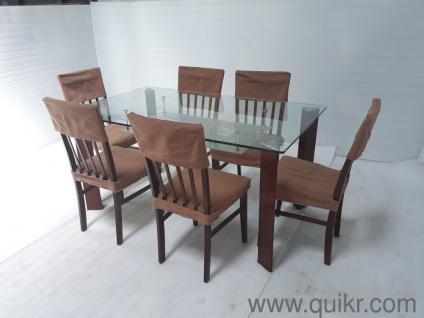 Excellent Condition Quikr Certified 6 Seater Glass Top Dining Table For Sale