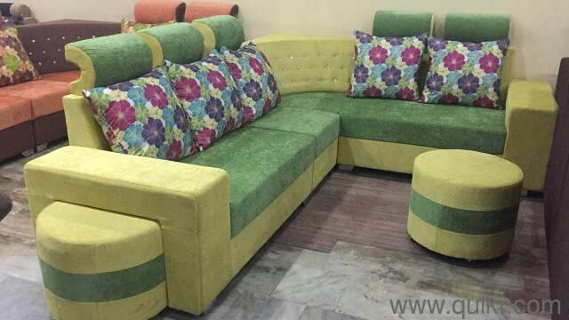 Corner Sofa Set With 2 Round Stools Brand Home Office Furniture Nampalli Hyderabad Quikrgoods