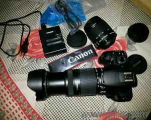 Canon EOS 1200D DSLR Camera (Body with 8 GB Card & Bag EF S18-55 IS  Il+55-250mm IS II) (Black) Almost New, Excellent Condition, Price Slightly