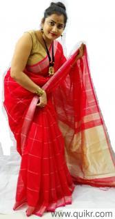 Sunny Leone Red Bikini And Red Sofa