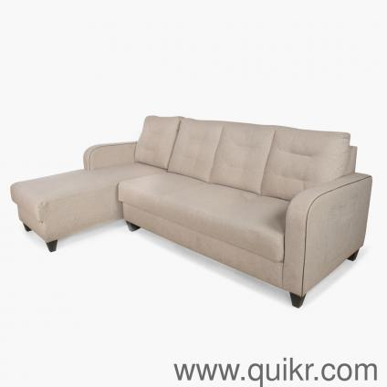 Home Centre Montoya Corner Fabric Sofa Beige L Shape Sofa Sofa