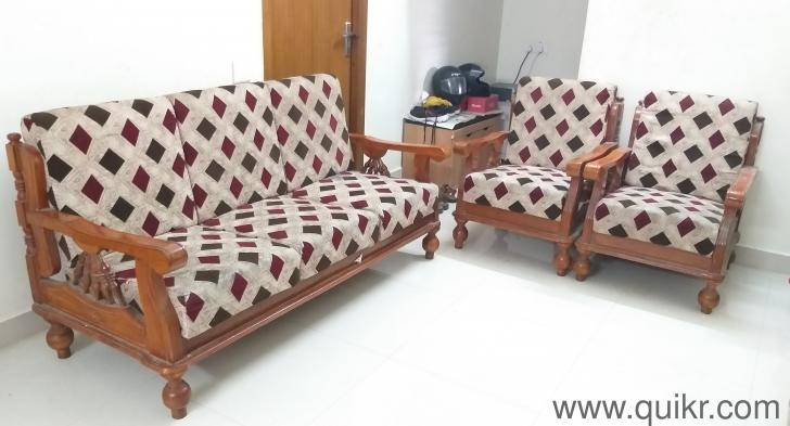 Teak Wood Sofa Set 3 Seater 2 Chairs With Complete Rubber Foam