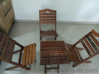 Foldable Teak Wood Chair And Table Set For Sale Lightly Used