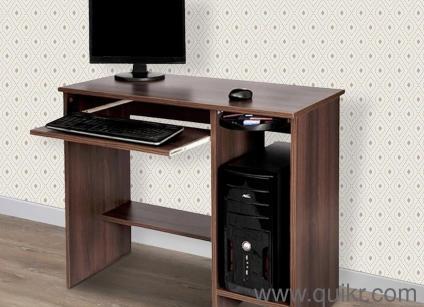 Ubbe Computer Table in Acacia Dark Matt Finish by Homiez Decor