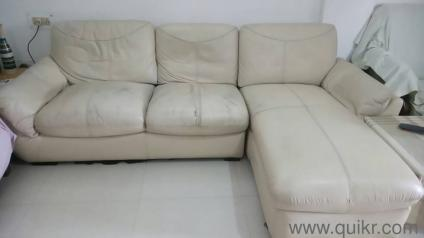 PREMIUM Fine Beige Leather Sectional Sofa Set