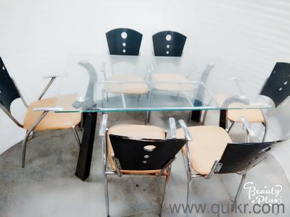 DIWALI DHAMAKA SALE QUIKR CERTIFIED Glass Top Dinning Table With Six Chairs