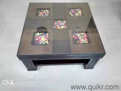 7. Wooden Center Table With Glass Top
