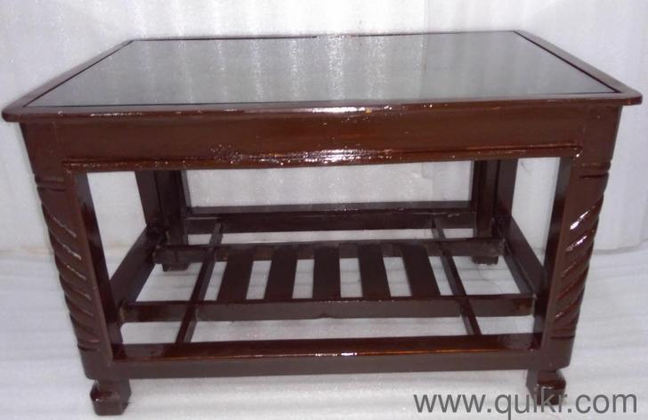 Excellent Condition Gently Used Wooden Center Table With Glass Top