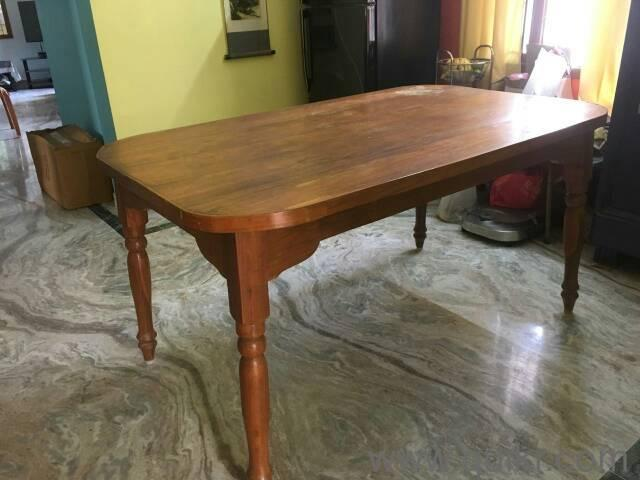 Assam original teak wood dining table with chairs top to
