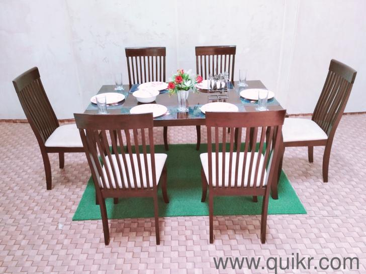 Share with friends & Dining table with 6 chairu0027s made of Rubber wood Colour - walnut ...