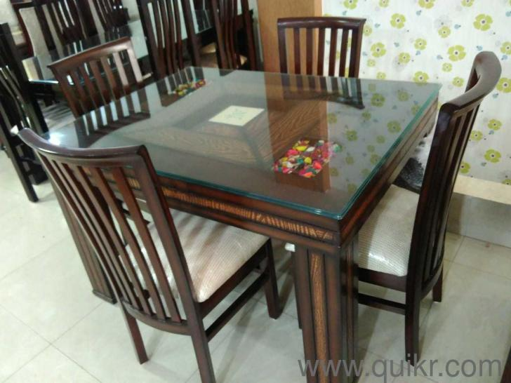 Seater Glass Top Dining Table Set In Solid Teak Wood Material For - Solid teak dining table for sale