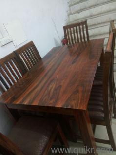 6 Seater Sheesham Wood Dining Table Set Walnut Finish