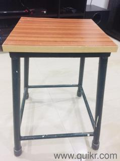 2 Steel Stools With Wooden Base